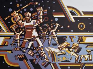 """Gerardas Šlektavičius / """"Ledo ritulininkai III"""" / 1980 / spalvotas lino raižinys / 41x56"""