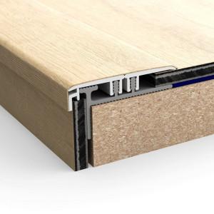 Aliuminio juosta laiptams vinilinei dangai Incizo NEVINCPBASE1, 27x18 mm, 2 m, Quick Step