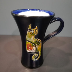 Puodelis su katinais mėlynas