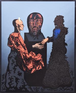 "Mikalojus Vilutis / ""Sielvartaujantis paminklas"" / 1994 / šilkografija / 40x33,5"