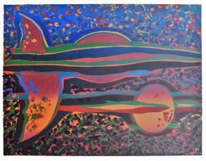 """Gerardas Šlektavičius / """"Stebuklingas spindėjimas"""" / 1998 / spalvotas lino raižinys / 49,5x65"""