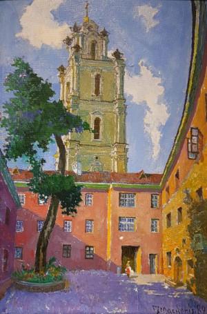 """Jonas Mackonis-Mackevičius / """"Universiteto kiemelio ir Šv. Jonų bažnyčios vaizdas"""" / 1989 / drobė, aliejus / 58,5x40"""