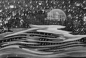 """Gerardas Šlektavičius / """"Vėjas III"""" / 2009 / popierius, tušas, grafitas / 70x100"""