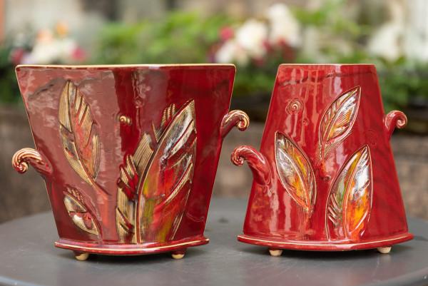 Vaza trapecinė siaurėjanti vidutinė raudona