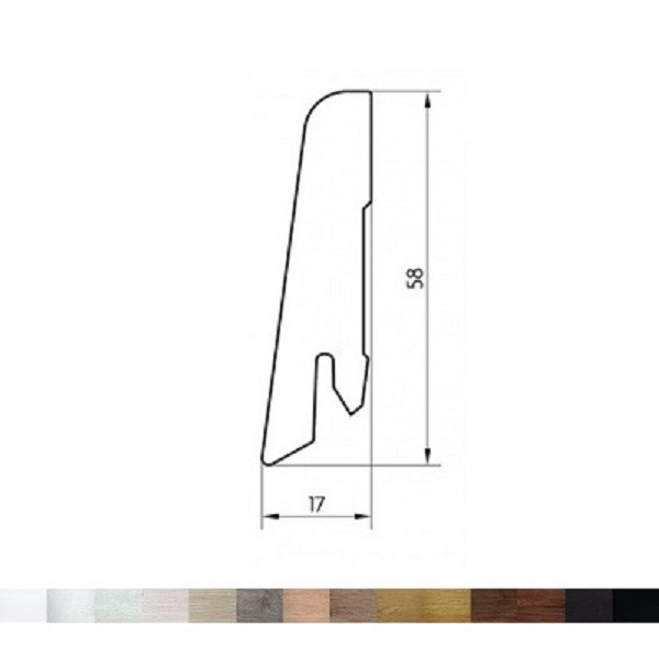 MDF grindjuostė, 17x58mm 2,5m, Pedross