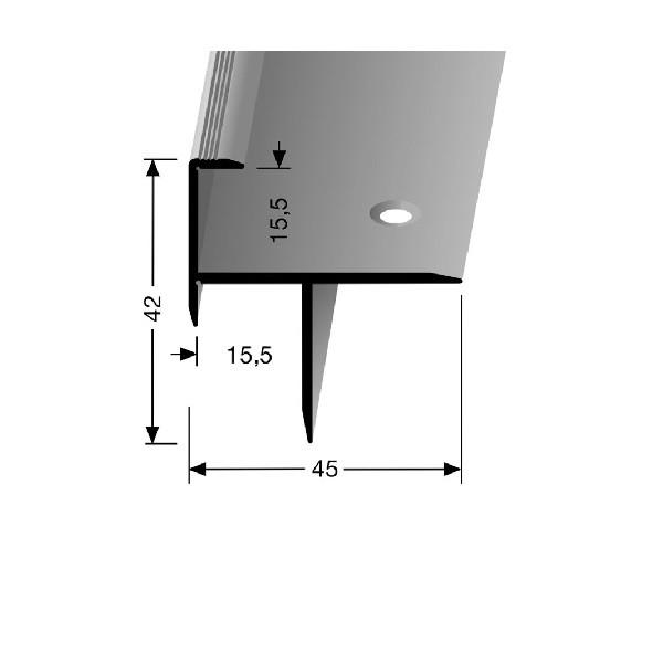 Profilis aliuminis, laiptų apdailai BEST 206, aukso spalvos, 300cm, Kuberit