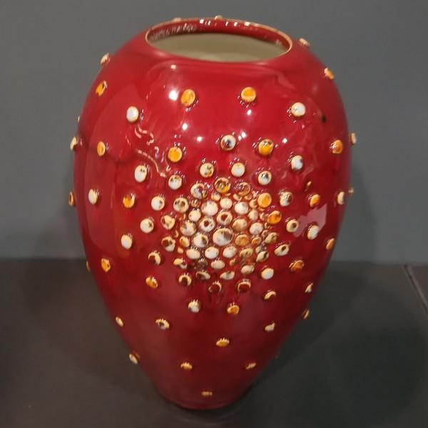 Vaza vidutinė ovali su burbuliukais raudona