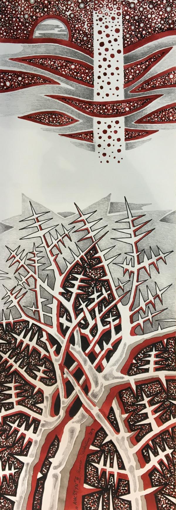 """Gerardas Šlektavičius / """"Aukštyn III"""" / 2019 / popierius, tušas, grafitas / 100x35"""