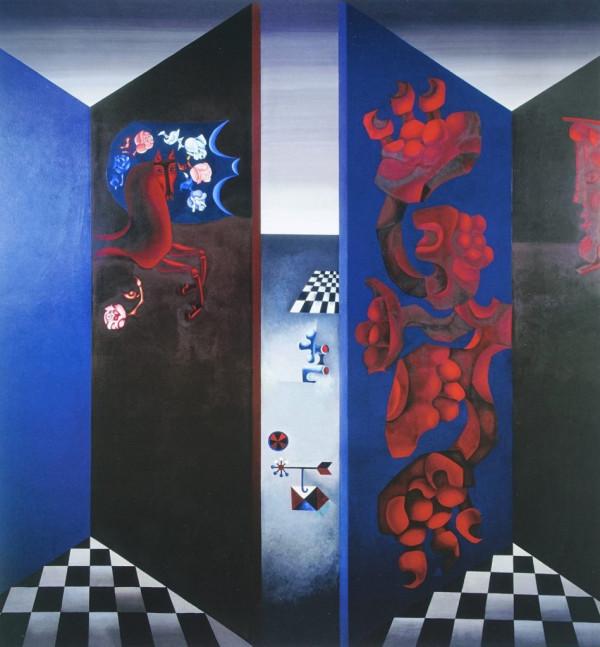 """Birutė Žilytė, Algirdas Steponavičius / """"Mėlynas žirgelis"""" (sienų tapyba sanatorijoje """"Pušelė"""" Valkininkuose) / 1969-1972 / pasirašytas sk.atspaudas / 60x56"""
