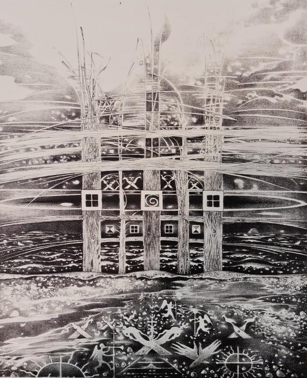 """Birutė Stančikaitė / """"Baltijos krante"""" / 2007 / litografija / 45x36,5"""