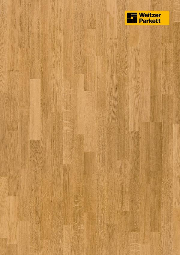 Parketlentės Weitzer parkett, natūralus ąžuolas, exquisite, 15422, 2245x193x14mm, 3 juostų, Charisma 3-STRIP kolekcija