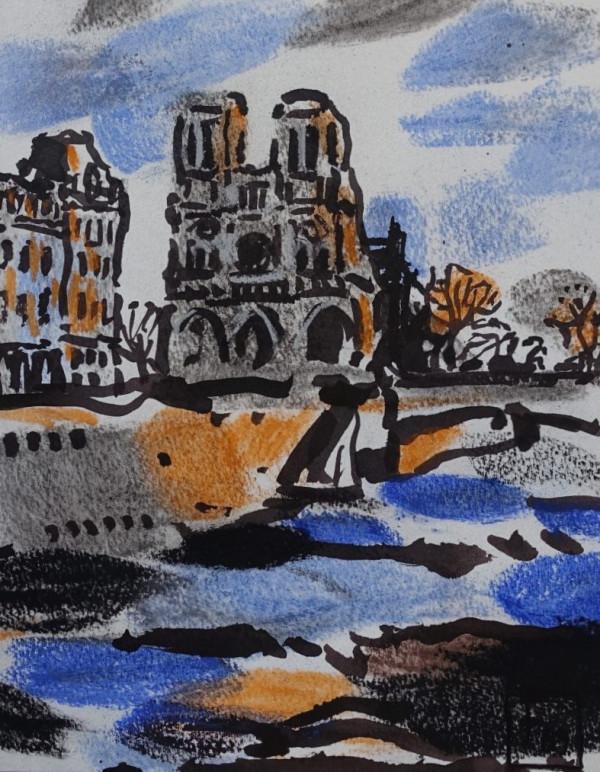"""Filomena Linčiūtė-Vaitiekūnienė / """"Sena prie Notre Dame I"""" / 2003 / popierius, mišri technika / 34,5x26,5"""
