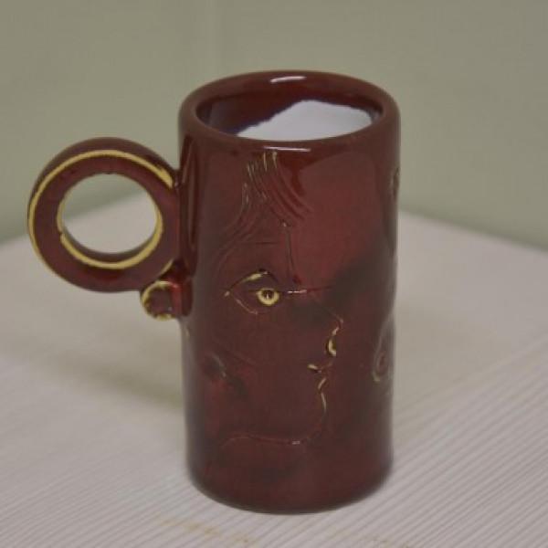Puodelis cilindras siauras mažas raudonas