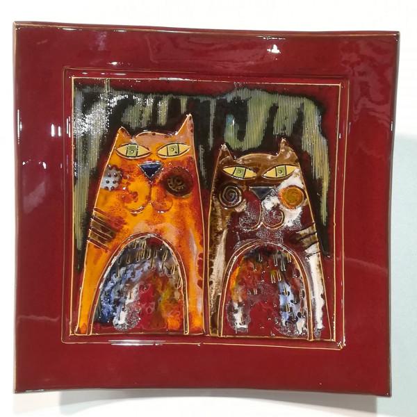 Dekoratyvinė lekštė didelė su katinais raudona