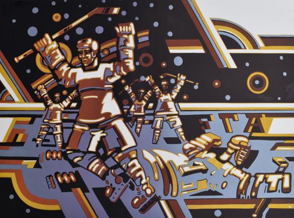 "Grafika / Gerardas Šlektavičius / ""Ledo ritulininkai III"" / 1980 / spalvotas lino raižinys / 41x56"