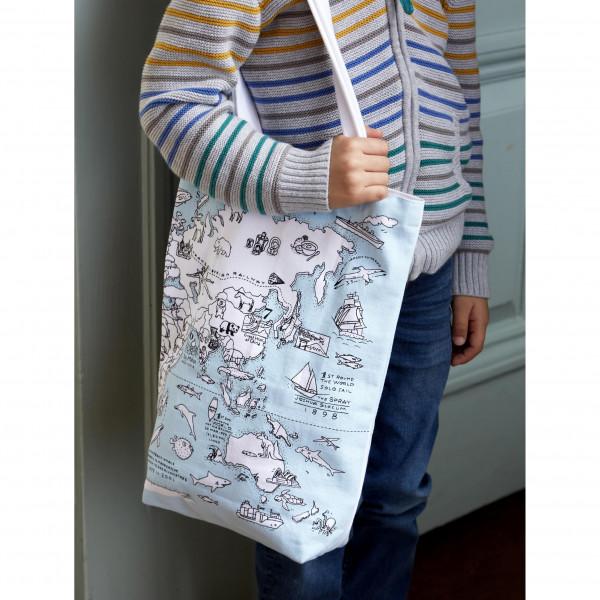 """Doodle krepšys """"Pasaulio žemėlapis"""" 38 x 28 cm su spalvotais rašikliais"""