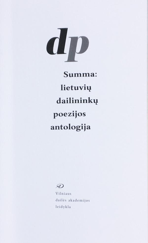 """Petras Repšys / """"Summa: lietuvių dailininkų poezijos antologija"""" / 2020 / knyga / Vilniaus dailės akademijos leidykla"""