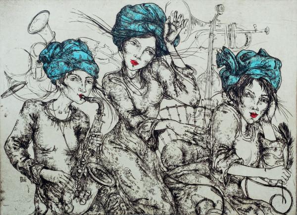 """Grafika / Edita Suchockytė / """"Trys mūzos"""" / 2014 / ofortas / 47,5x65"""