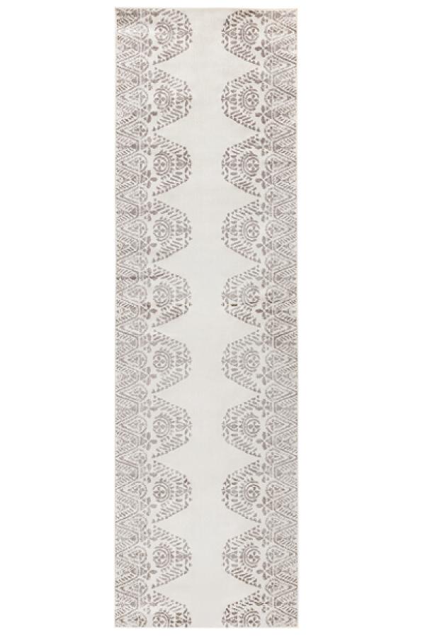 Kilimas Vallila Tulum shiny white grey 68x220 cm